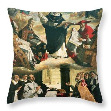 The Apotheosis Of Saint Thomas Aquinas Throw Pillow by Francisco de Zurbaran