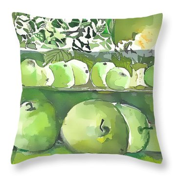 Throw Pillow featuring the painting The Apple Closet by Mindy Newman