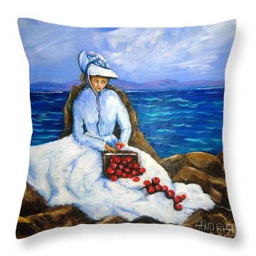 The Apple Woman Throw Pillow
