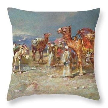 The Arab Caravan   Throw Pillow by Italian School