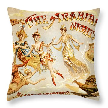 The Arabian Nights Burlesque Throw Pillow
