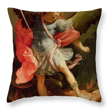 The Archangel Michael Defeating Satan Throw Pillow by Guido Reni