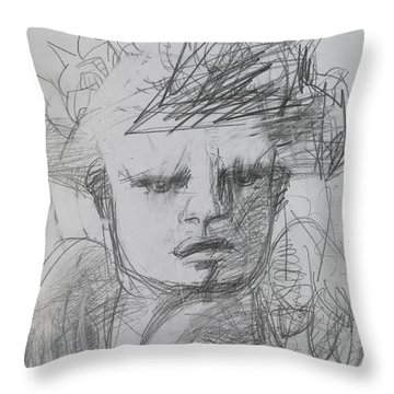 The Archangel Michael By Alice Iordache Original Drawing Throw Pillow by Iordache Alice