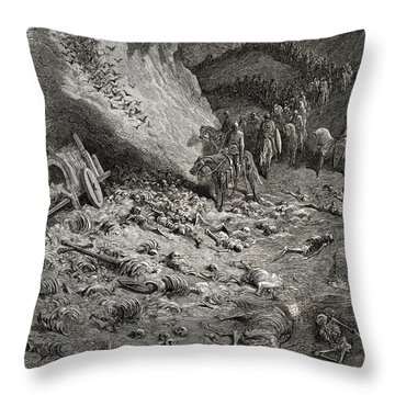 The Army Of The Second Crusade Find The Remains Of The Soldiers Of The First Crusade Throw Pillow by Gustave Dore