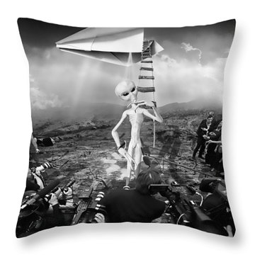 The Arrival Black And White Throw Pillow by Marian Voicu