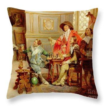 The Arrival Of D'artagnan Throw Pillow by Alex de Andreis