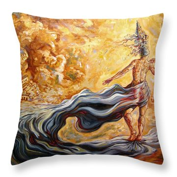 The Arrival Of The Goddess Of Consciousness Throw Pillow by Darwin Leon