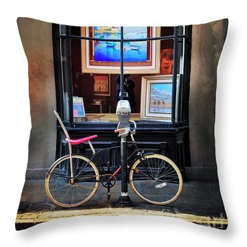 Throw Pillow featuring the photograph The Art Gallery Bicycle by Craig J Satterlee