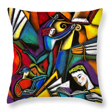 Throw Pillow featuring the painting The Art Of Learning by Leon Zernitsky