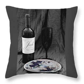The Art Of Wine And Grapes Throw Pillow by Sherry Hallemeier