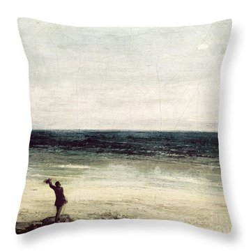 The Artist On The Seashore At Palavas Throw Pillow by Gustave Courbet