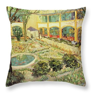 The Asylum Garden At Arles Throw Pillow by Vincent van Gogh