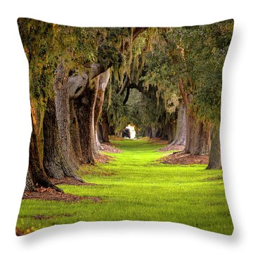 Throw Pillow featuring the photograph The Avenue Of Oaks 4 St Simons Island Ga Art by Reid Callaway