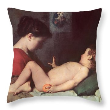 The Awakening Child Throw Pillow by Jean Jacques Henner