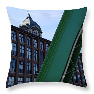 The Ayer Mill And Clock Tower Throw Pillow