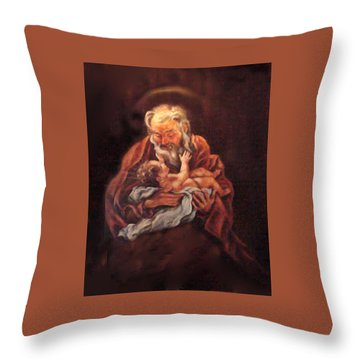 Throw Pillow featuring the painting The Baby Jesus - A Study by Donna Tucker