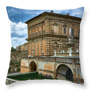 The Architecture Of The Pitti Palace In Florence, Italy Throw Pillow