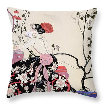 The Backless Dress Throw Pillow by Georges Barbier