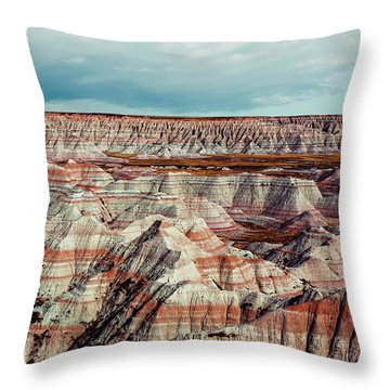 The Badlands Of South Dakota I Throw Pillow