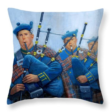 The Bagpipers Throw Pillow