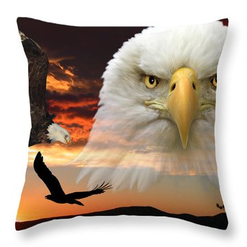 Throw Pillow featuring the photograph The Bald Eagle by Shane Bechler