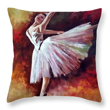 Throw Pillow featuring the painting The Dancer Tilting - Adaptation Of Degas Artwork by Rosario Piazza