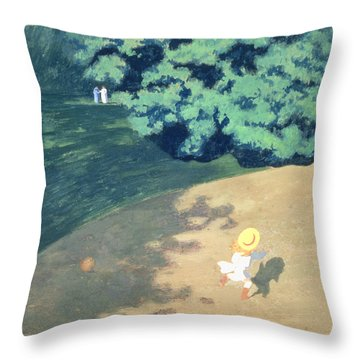The Balloon Or Corner Of A Park With A Child Playing With A Balloon Throw Pillow by Felix Edouard Vallotton
