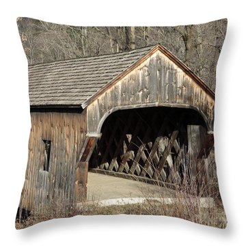 The Baltimore Covered Bridge - Springfield Vermont Usa Throw Pillow by Erin Paul Donovan