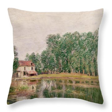 The Banks Of The Canal At Moret Sur Loing Throw Pillow by Alfred Sisley