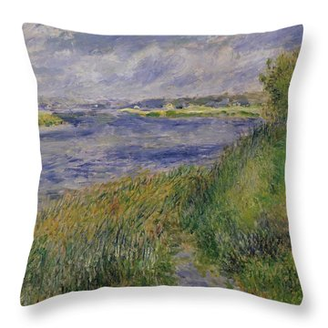 The Banks Of The Seine Champrosay Throw Pillow by Pierre Auguste Renoir