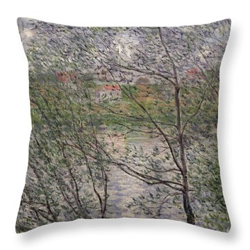 The Banks Of The Seine Throw Pillow by Claude Monet