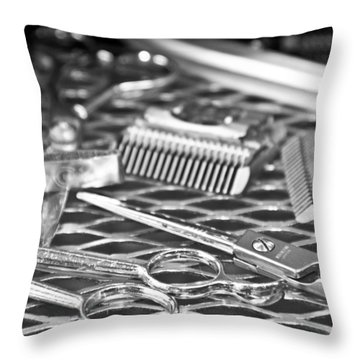 The Barber Shop 10 Bw Throw Pillow