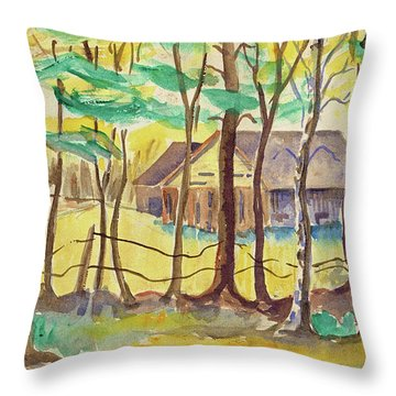 The Barn Throw Pillow by Art MacKay