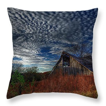 The Barn At Twilight Throw Pillow