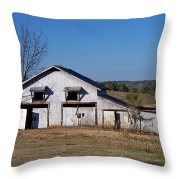 Throw Pillow featuring the photograph The Barn by Betty Northcutt