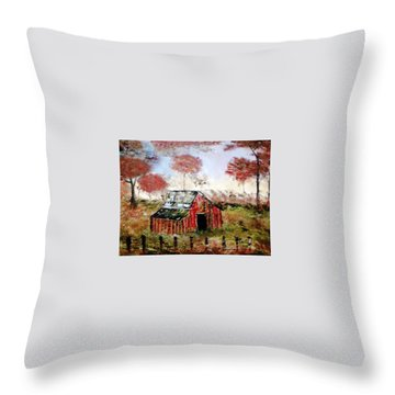 Throw Pillow featuring the painting The Barn by Debbie