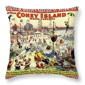 The Barnum And Bailey Greatest Show On Earth The Great Coney Island Water Carnival Throw Pillow