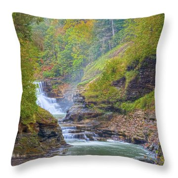 The Bashful Lower Falls Throw Pillow by Angelo Marcialis