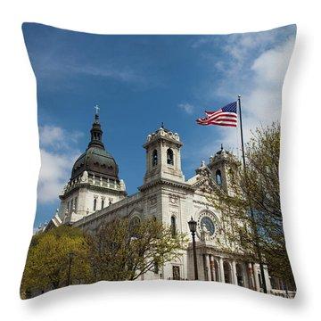 The Basilica Of Saint Mary Minneapolis Springtime 3  Throw Pillow