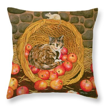 The Basket Mouse Throw Pillow by Ditz