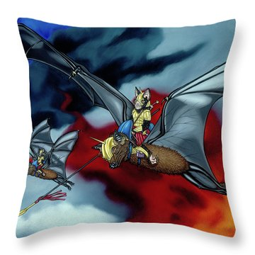The Bat Riders Throw Pillow