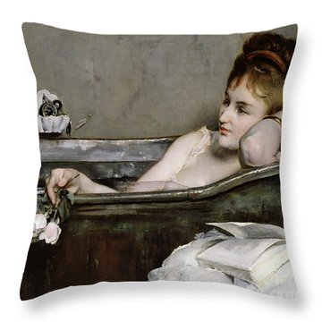 The Bath Throw Pillow by Alfred George Stevens
