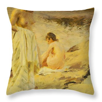 The Bathers Throw Pillow by Anders Leonard Zorn