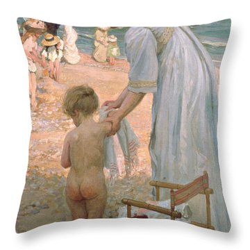 The Bathing Hour  Throw Pillow by Emmanuel Phillips Fox