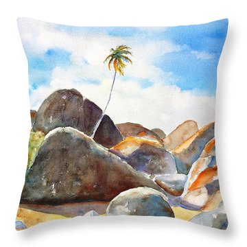 The Baths Palm Tree Throw Pillow