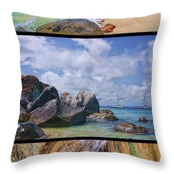 The Baths Virgin Gorda National Park Triptych Throw Pillow by Olga Hamilton