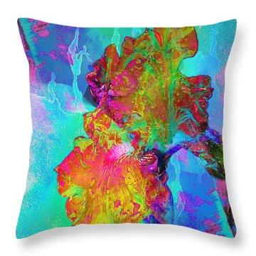 The Batik Iris Throw Pillow by Karen McKenzie McAdoo