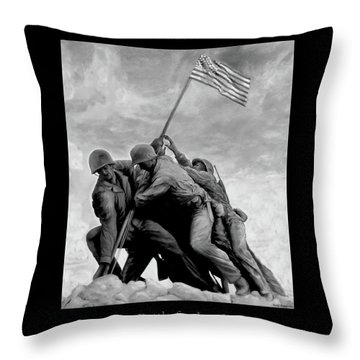 The Battle For Iwo Jima By Todd Krasovetz Throw Pillow by Todd Krasovetz