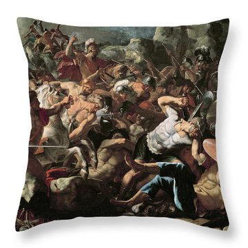 The Battle Throw Pillow by Nicolas Poussin