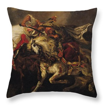 The Battle Of Giaour And Hassan Throw Pillow by Ferdinand Victor Eugene Delacroix